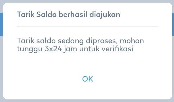notifikasi berhasil withdraw pulsa