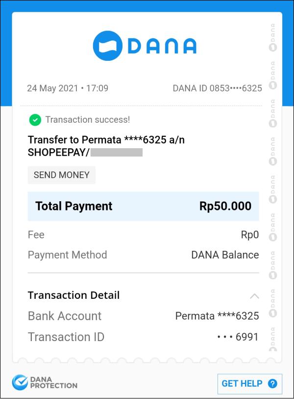 Receipt Transfer saldo DANA ke ShopeePay