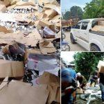 Lori terbalik di jalan raya, kotak susu dicuri secara berjemaah di Kelantan