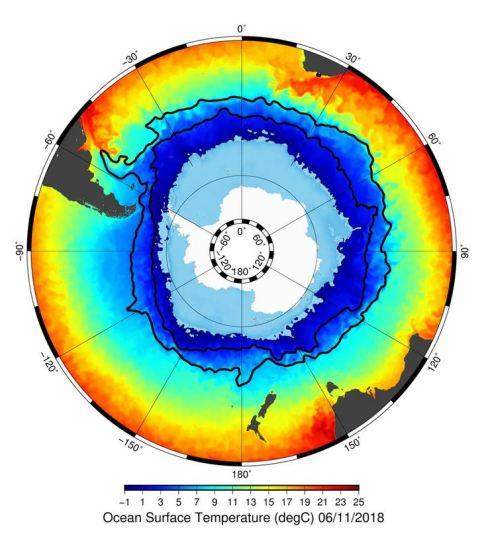 Ocean Temperature Antartic Aac Map