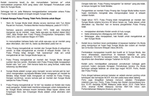 8 Sebab Pulau Pinang Tidak Bayar Air Kedah