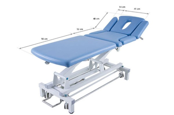 3 Sections Electric Treatment Table with Headrest & Folding Armrests 3