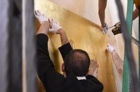 Installing the left angel panel.
