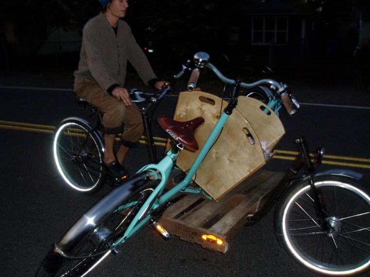 Nighttime bike on bike action