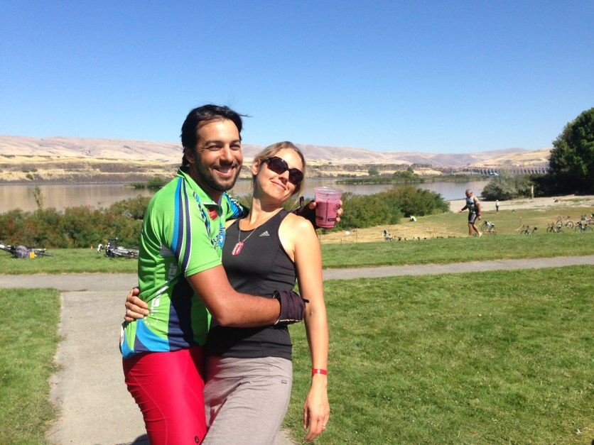 Nossa Familia Coffee was started 10 years ago, and Cycle Oregon was one of the first large events. Owner Augusto celebrates at the finish line with wife Carissa.