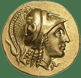 "Alexandre Magono inmortalizado en moneda de oro ""macedonia"""