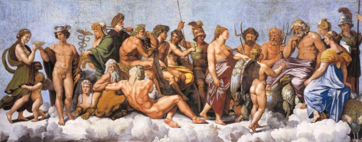 La asamblea de dioses, principalmente los doce olímpicos, reciben a Psique (Loggia di Psiche, 1518-19, de Rafael). Yo la llamo THE BIG PICTURE