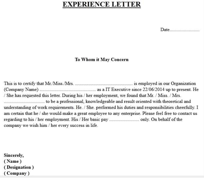 experience letter format, experience certificate format