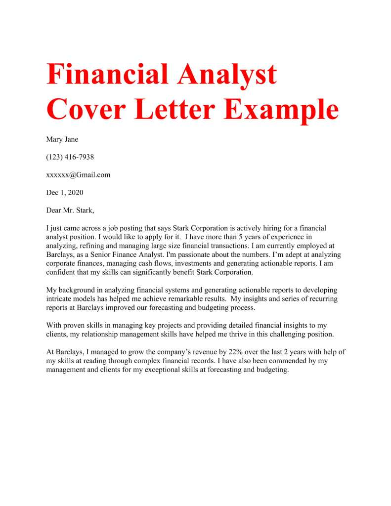 Financial Analyst Cover Letter sample sample cover letter financial analyst