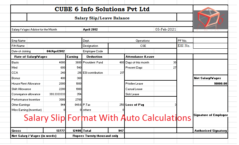 payslip template excel