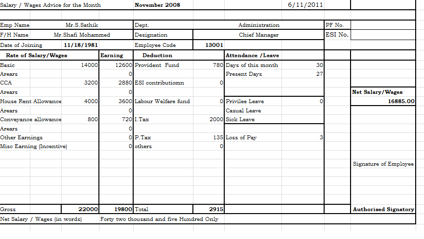 pay slip template excel