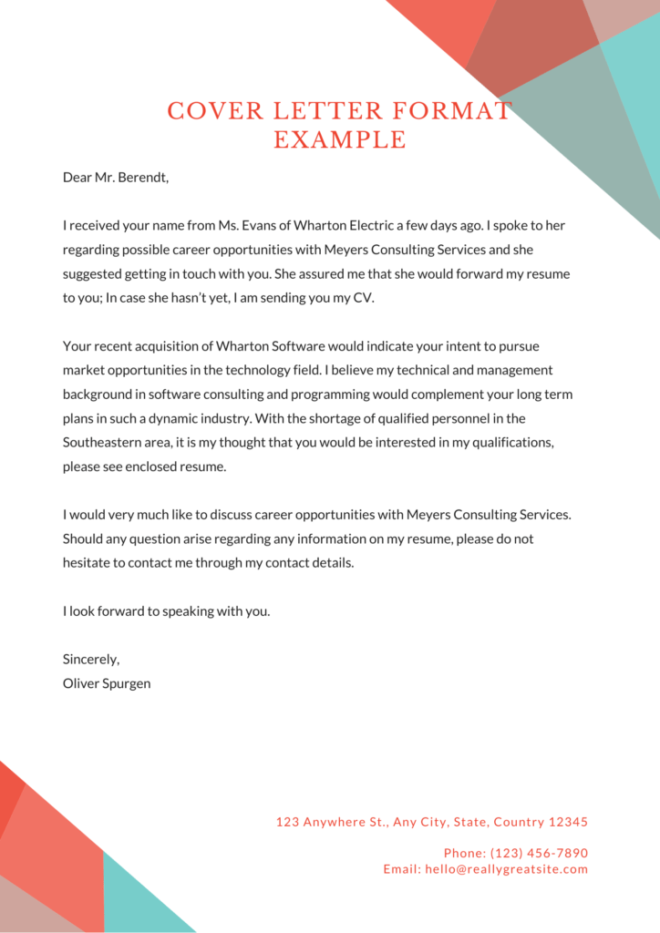 The image is a brilliant sample of cover letter format example