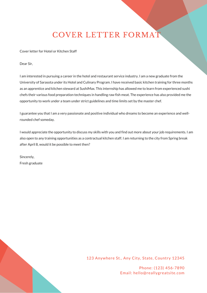 the image is a cover letter format for a kitchen staff position
