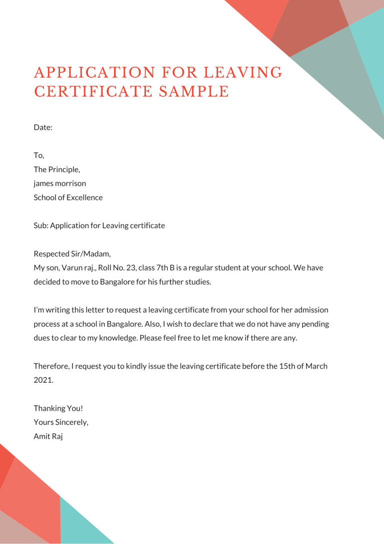 Application For Leaving Certificate From School