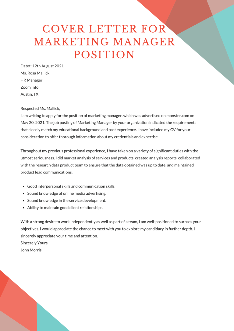 Cover Letter For Marketing Manager Position