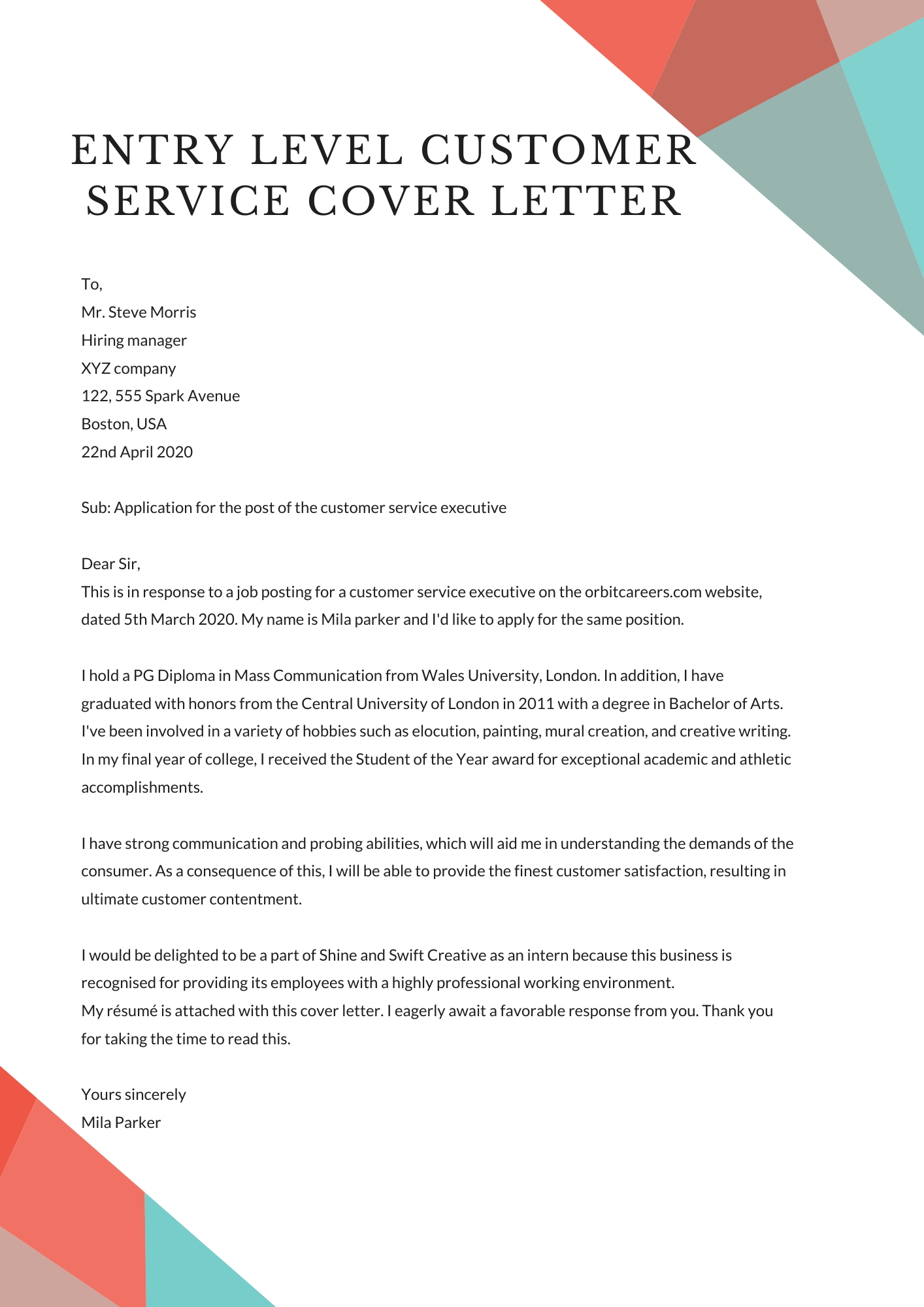 Entry Level Customer Service Cover Letter