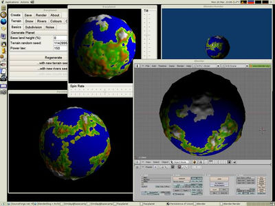 Fracplanet 0.3.0 with terrain exported to POV-Ray and Blender. (from Tim Day's site)