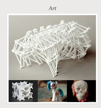 Art category from the front page of Shapeways.com