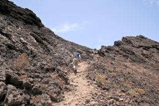 Up the side of the volcano