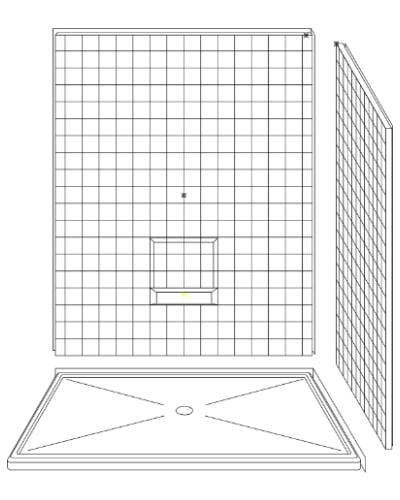 """3LRS6048B22B : Three Piece 60"""" x 48"""" Corner Walk-in Shower"""
