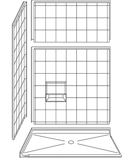 "4LESC6036B75B : Four Piece 60"" x 36"" Corner Roll-in Shower"