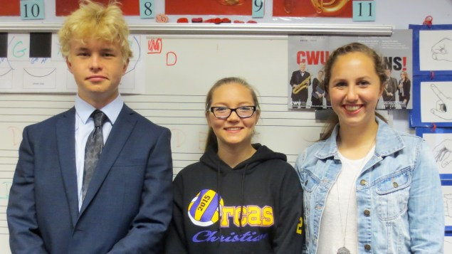 Sampling of students in orchestra, from left to right: Anthony Kaskurs, Emily Toombs, Olivia Brunner-Gaydos / Photo credit: Paris Wilson