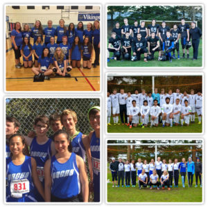 Fall sports teams, clockwise form top left: Volleyball, Football, Boys soccer, Girls soccer, Cross Country / Yearbook staff