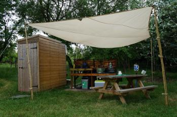 The outdoor kitchen for the yurt