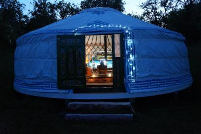 Lighting up the yurt at dusk