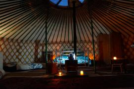 Inside the yurt at night
