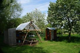 The shower, kitchen and composting loo