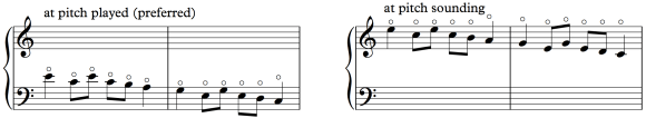 Fig 68b: harp harmonics at pitch played and pitch sounding.