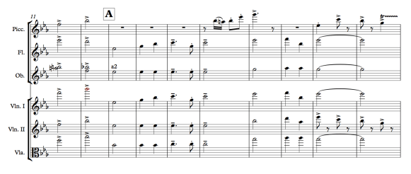 "An excerpt from my own arrangement of the naval march ""Anchors Aweigh,"" showing only the upper three staves of strings and winds from a fully orchestrated page. Here oboes play a2, but their intonation difficulties are smoothed over by unison with the violins. Note that only one flute is needed for a balanced sound, leaving the second flutist to play filigree on piccolo."