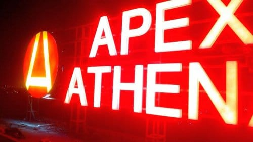 Apex Athena LED acrylic 30 foot hoarding