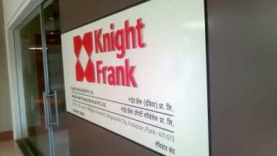 Knight Frank ACP back board with acrylic cut letters and vinyl logo pasted