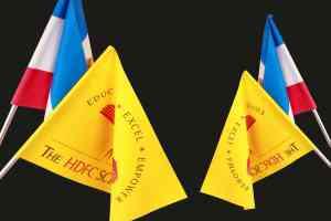 flag printing on thin satin cloth mounted on poles