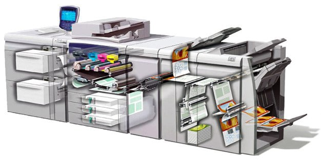 four color digital printing press in action
