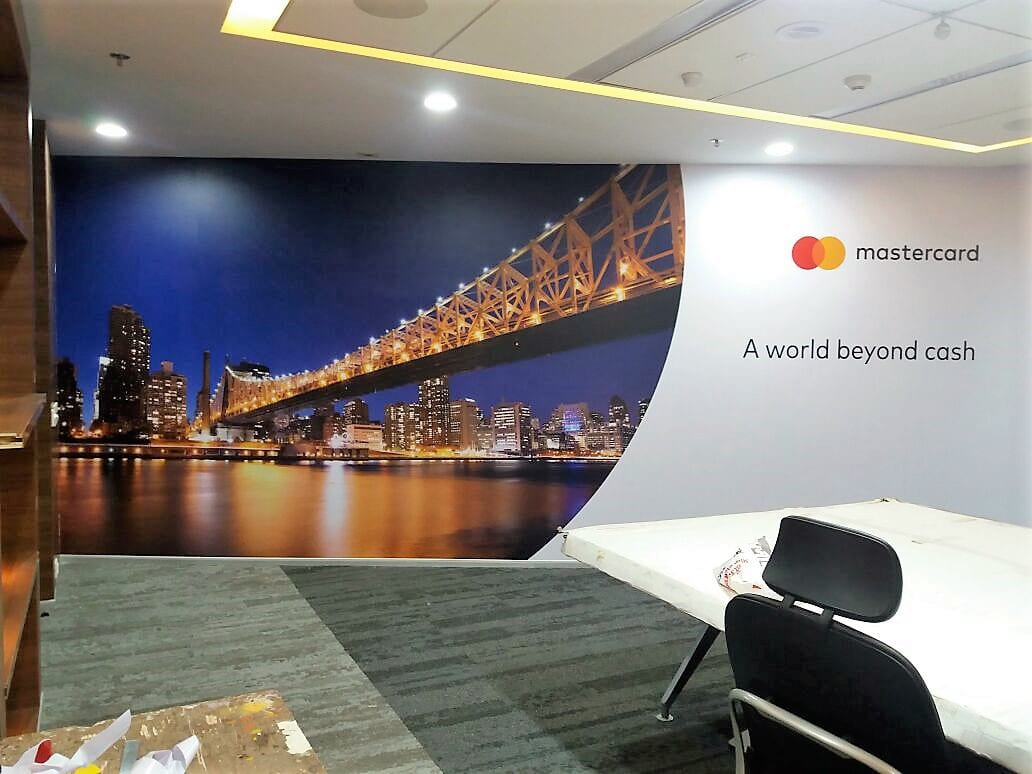 office decor improved using custom printed wallpapers