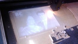 laser etching on image in progress