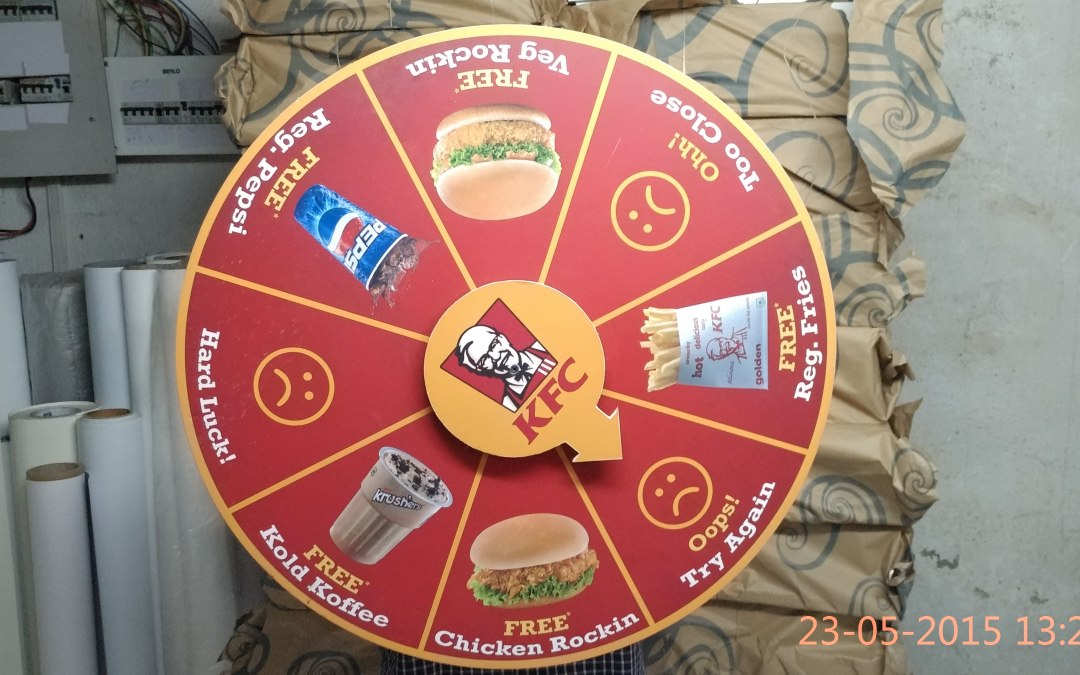 Wheel of fortune game at KFC