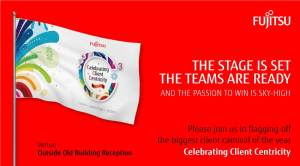Design of the invite for an event at Fujitsu company for which double sided flags needed to be custom printed