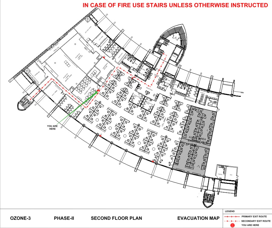 Fire Evacuation Map at Ozone building showing assembly