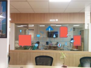 white ink uv printing to create a glass partition which is simultaneously opaque and transparent