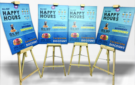 Easel standees will entice customers to walk into your store