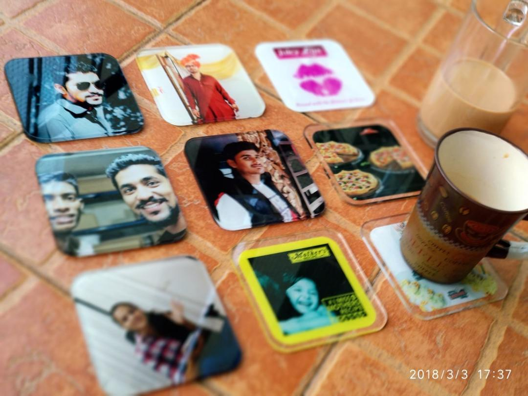 custom printed coasters on acrylic and wood