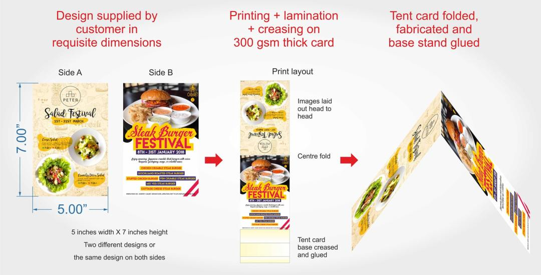 table tent card printing for hotels and restaurants