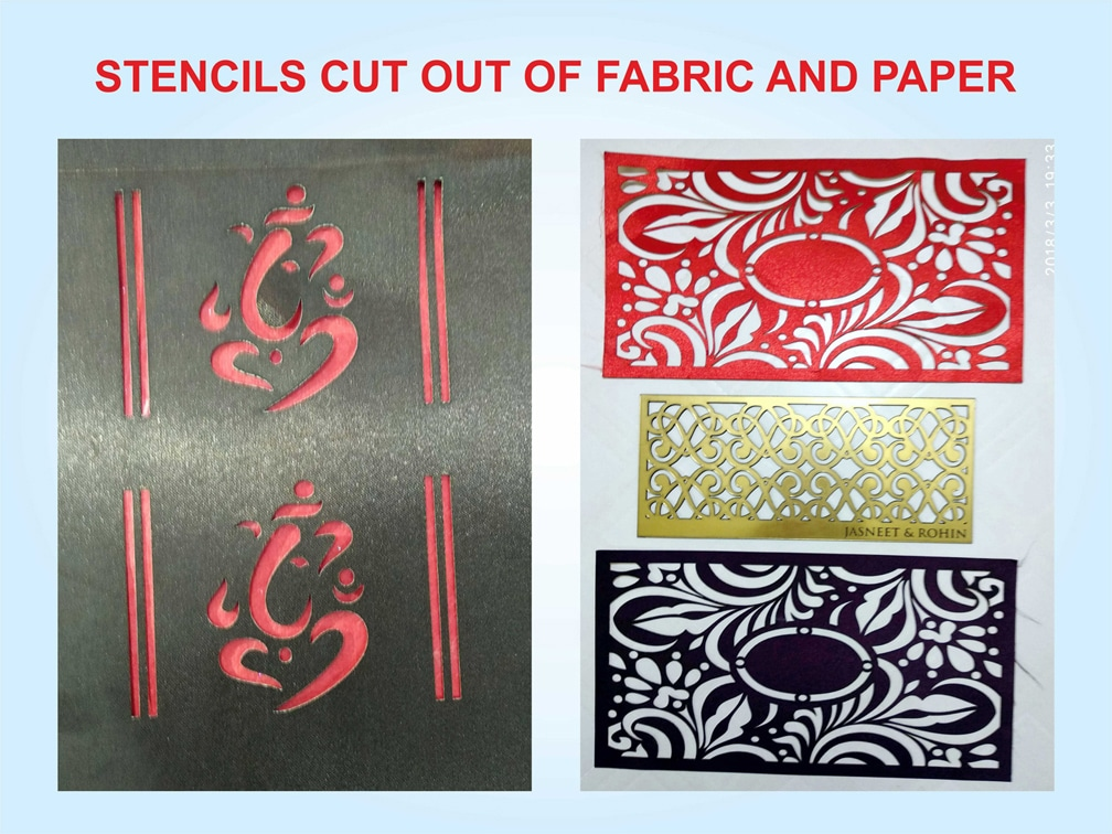 custom cut stencils made from fabric and paper