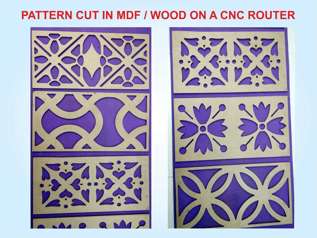 pattern cut into MDF using a CNC router