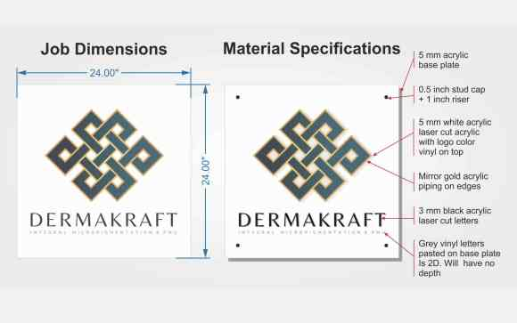 This image shows the job and material specifications that're part of an perspex name board.