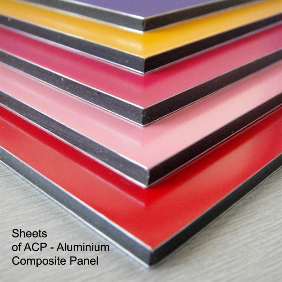 ACP or aluminium composite panels are sheets of hard rubber sandwiched with aluminum foil. they can be printed upon to create very strong and long lasting signs.